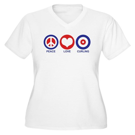 Peace Love Curling Women's Plus Size V-Neck T-Shir