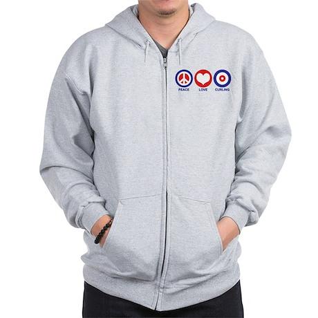 Peace Love Curling Zip Hoodie
