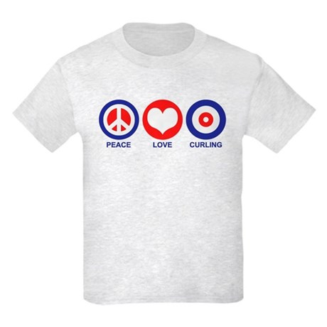 Peace Love Curling Kids Light T-Shirt