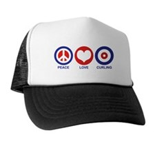 Peace Love Curling Trucker Hat