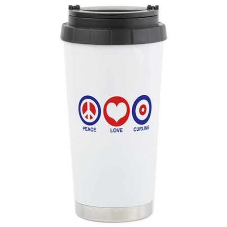 Peace Love Curling Stainless Steel Travel Mug