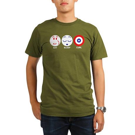 Eat Sleep Curl Organic Men's T-Shirt (dark)