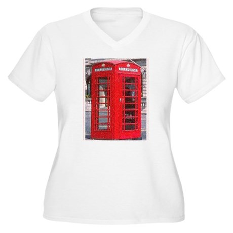 British Phone Booth Women's Plus Size V-Neck T-Shi