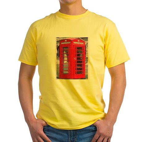 British Phone Booth Yellow T-Shirt