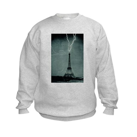 Eiffel Tower Lightening Strik Kids Sweatshirt