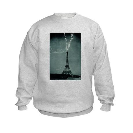 Eiffel Tower Lightening Strik Kids Sweatshirt