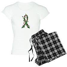 Christmas Lights Ribbon Liver Disease Pajamas