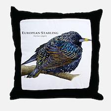 European Starling Throw Pillow