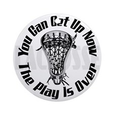 Lacrosse Plays Over bkg Ornament (Round)