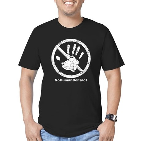 No Human Contact Men's Fitted T-Shirt (dark)