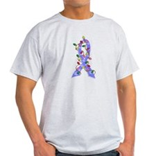 Christmas Lights Ribbon Prostate Cancer T-Shirt