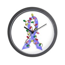 Christmas Lights Ribbon Prostate Cancer Wall Clock
