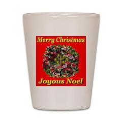 Merry Christmas Joyous Noel Shot Glass