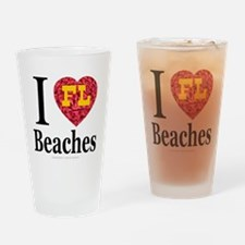 I Love FL Beaches Drinking Glass