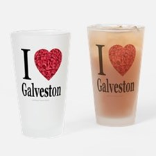 I Love Galveston Drinking Glass