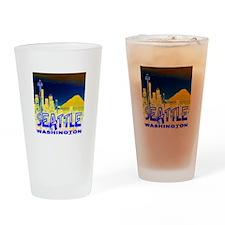 Seattle WA Golden Skyline Drinking Glass