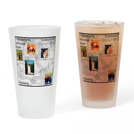 Yellowstone NP Illustrated Ma Drinking Glass