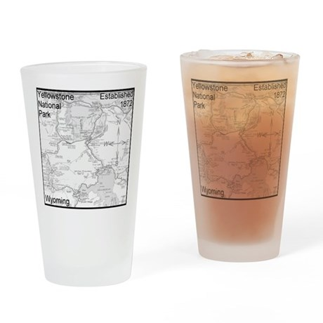 Pint Beer Glass With Yellowstone National Park Design
