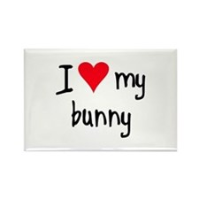 I LOVE MY Bunny Rectangle Magnet