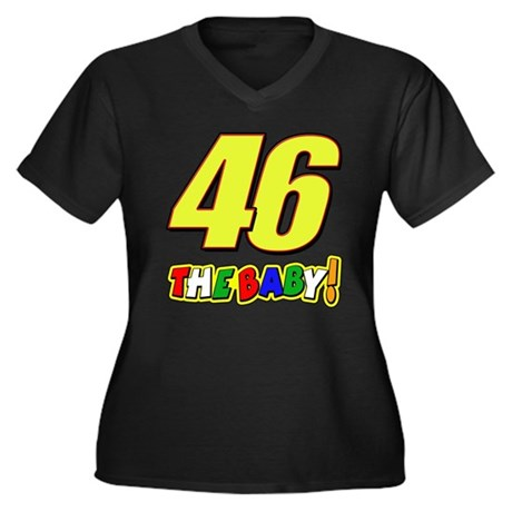 VR46baby Women's Plus Size V-Neck Dark T-Shirt