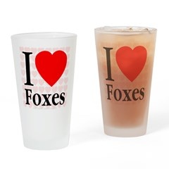 I Love Foxes Drinking Glass
