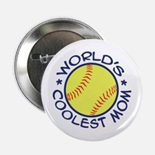 "World's Coolest Softball Mom 2.25"" Button"