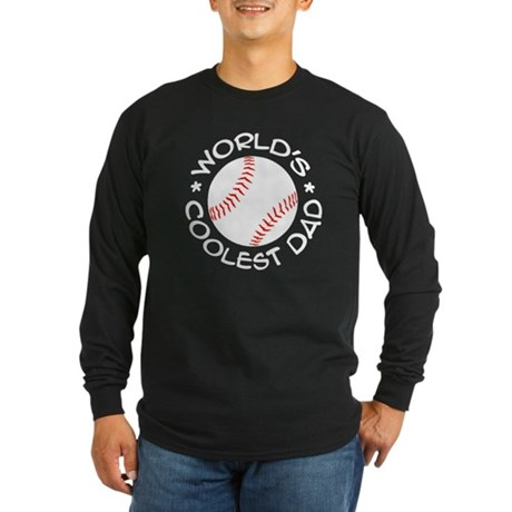 World's Coolest Baseball Dad Long Sleeve Dark T-Sh