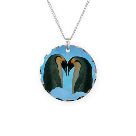 Penguin Love Necklace Circle Charm