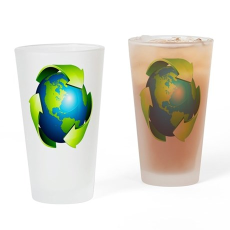 Recycle Blue Planet Symbol Drinking Glass