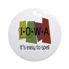 Iowa Easy to Spell Ornament (Round)