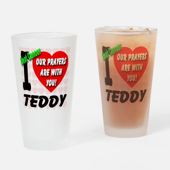I Love Teddy Beat Cancer Drinking Glass