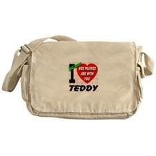 I Love Teddy Beat Cancer Messenger Bag