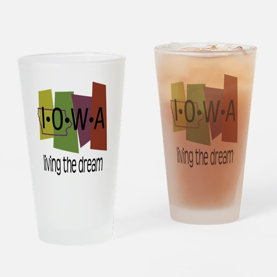 Iowa Living the Dream Drinking Glass