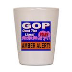 Amber Alert Oust The Liars! Shot Glass