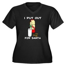 I put out for Santa Women's Plus Size V-Neck Dark