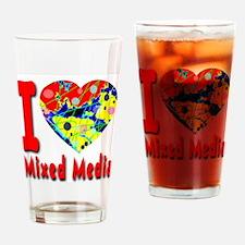 I Love Mixed Media Drinking Glass