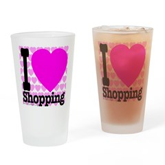 I Love Shopping Pink Drinking Glass