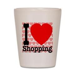 I Love Shopping Shot Glass