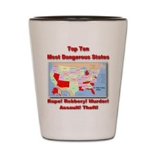 Most Dangerous States Shot Glass