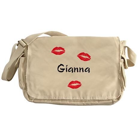 Gianna kisses Messenger Bag