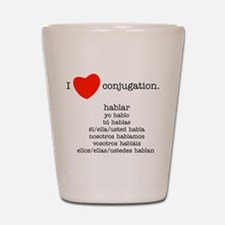 I heart conjugation Shot Glass