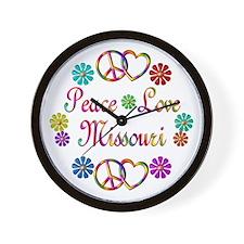 Peace Love Missouri Wall Clock