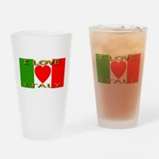 I Love Italy Heart Flag Drinking Glass