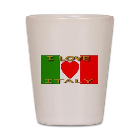 I Love Italy Heart Flag Shot Glass