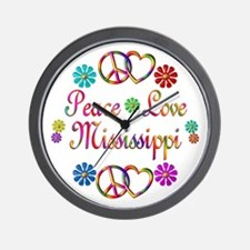 Peace Love Mississippi Wall Clock