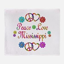 Peace Love Mississippi Throw Blanket