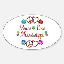 Peace Love Mississippi Sticker (Oval)