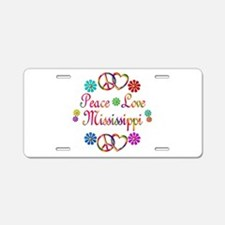 Peace Love Mississippi Aluminum License Plate
