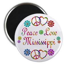 Peace Love Mississippi Magnet
