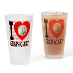 I Love Graphic Art Drinking Glass